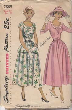 1950's Misses' Dress Simplicity 2869 Size 12 Bust 30 by HelaQ, etsy