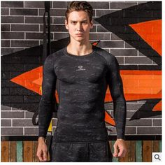 LS2017 latest fitness strong and handsome man long sleeve casual t-shirts hot muscle compression tight shirt leather gear and co