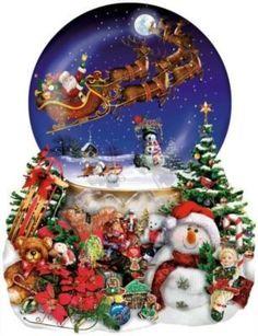 Flying Santa sleigh Christmas Snow Globe
