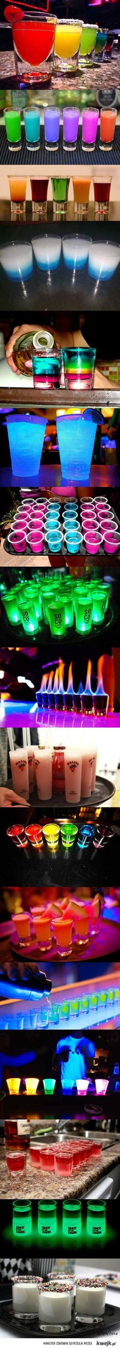 Lots of yummy drink recipes that glow in the dark