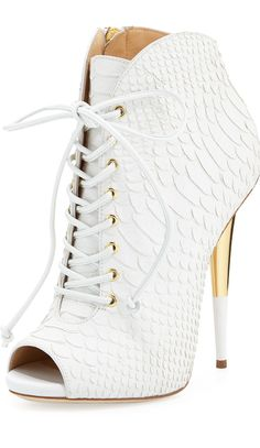 Giuseppe Zanotti >> Lace-Up Python-Print Leather Bootie