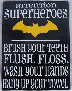 Attention Superheroes (Batman) bathroom rules wood siign on Etsy, Batman Bathroom, Superhero Bathroom, Superhero Room, Bathroom Rules, Bathroom Kids, Bathrooms, Batman Room, Nananana Batman, Boy Art
