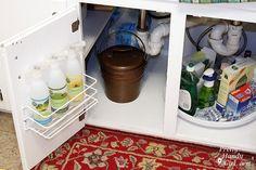Cabinet under sink organization.
