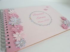 Rose and liberty gold book katie and millie for baptism, communion with flowers and handmade bird Communion, Serviettes Roses, Flower Decorations, Table Decorations, Gold Book, Photo Booth Frame, Girl Christening, Pink Paper, Small Birds