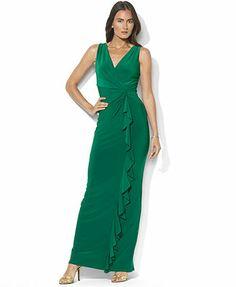 Lauren Ralph Lauren Petite Sleeveless Surplice-Neck Ruffled Jersey Gown