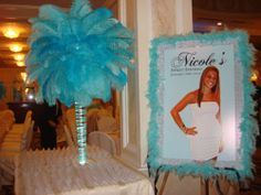 Tiffany Themed Centerpieces & Sign in Poster Sweet 16 Centerpieces, Sweet 16 Decorations, Peacock Centerpieces, Tiffany Birthday Party, Tiffany Party, Daughter Birthday, Girl Birthday, 16th Birthday, Sweet 16 Pictures