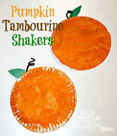 Pumpkin Tambourine Shakers are perfect for making music this fall! Great for a musictastic fun time!
