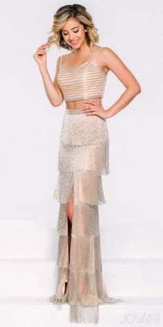 Two Piece Cascading Fringe Evening Dress By Jovani #edressme
