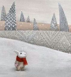 Wonderful lacy trees and a cute bunny. Illustration by Catharine Zarip
