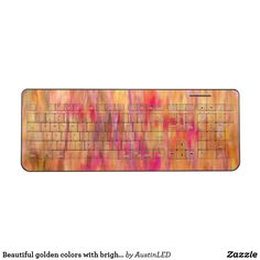 Beautiful golden colors with bright red blossoms wireless keyboard #GraduationGifts #MothersDay