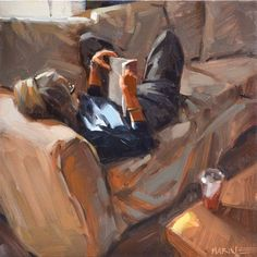 "Daily Paintworks - ""Pam Reading"" - Original Fine Art for Sale - © Carol Marine Art And Illustration, Illustrations, Figure Painting, Painting & Drawing, Painting People, Painting Inspiration, Art Inspo, Reading Art, Woman Reading"