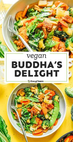 This easy Buddha's Delight recipe (or Lo Han Jai) is the ultimate veggie-packed dinner that's packed with flavor, veggies, and seitan! It's a healthy dinner recipe that your family will love. #vegan #vegetarian #stirfry #seitan Healthy Dinner Recipes, Vegetarian Recipes Easy, Seitan, Vegan Vegetarian, Veggies, Broccoli Florets, Vegetable Bowl, Japchae, Stir Fry