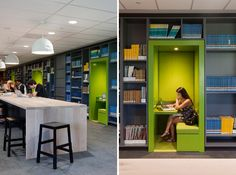 I wish my university had this idea. These nooks look cosy but I'm sure they take up valuable book space in this library.