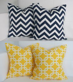 Four - Four Navy and Yellow Pillow Covers for Accent Pillows 16x16. $70.00, via Etsy.