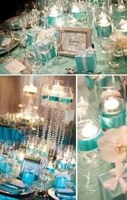 breakfast at tiffany's decorations - Google Search  (This has a picture of the glass vases with diamond trim and ribbon