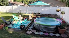 Stock Tank Pool Ideas For Your Incredible Summer [MUST-LOOK] - Get your stock tank pool DIY ideas right here! Find from galvanized, plastic, poly or metal stock tank pool inspirations. Stock Pools, Stock Tank Pool, Children Swimming Pool, Kid Pool, Casa Patio, Backyard Patio, Small Backyard Pools, Outdoor Pool, Swimming Pool Designs