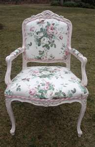 Bergere upholstered in pink rose chintz, chalk paint pink