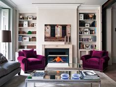 50 Ideas To Organize A Home Library In A Living Room Shelterness Narrow Living Room, Home Living Room, Living Spaces, Purple Velvet Chair, Velvet Chairs, Built In Bookcase, Bookcases, Decoration, Interior Inspiration