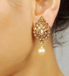 Where Sell Gold Jewelry India Jewelry, Pearl Jewelry, Gold Jewelry, Jewelery, Diamond Earrings Indian, White Earrings, Pakistani Jewelry, Bollywood Jewelry, Bridal Earrings