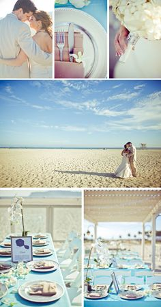 Beach Wedding Ideas Light Aqua color palette Coronado wedding place settings orchids