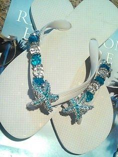 Beach Wedding Flip Flops Teal Aqua Blue