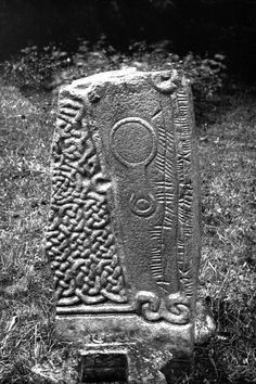 View of ogam-inscribed Pictish cross-slab.Original negative captioned: 'The Ogham Stone at Aboyne Castle July Celtic Symbols And Meanings, Viking Symbols, Celtic Dragon, Celtic Art, Pictish Warrior, Scotland History, Celtic Designs, Ancient Aliens, Ancient Artifacts