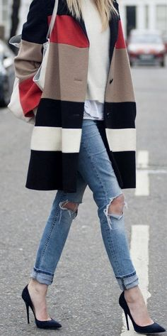 Stylish Striped Trench-coat Distressed Skinny Jeans Black Heels #PassionForFashion