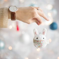 "Free crochet pattern for this adorably sweet ""Bunny Ornament""!"