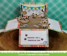 Lawn Fawn - Scalloped Box Card Pop-up, Meow You Doin'? _ card by Lizzy for Lawn Fawn Design Team