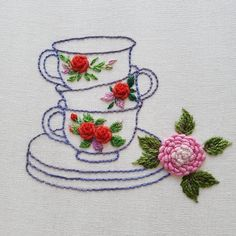 No photo description available. Embroidery Hoop Art, Crewel Embroidery, Hand Embroidery Patterns, Machine Embroidery Designs, Butterfly Felt, Cross Stitch Borders, Crochet Crafts, Embroidered Flowers, Needlework