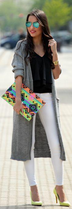 Romwe Grey Longline Knit Cardigan by Styleandblog.com