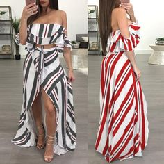 High Slit Layered Stripes Cropped Two-Pieces Dresses Hot Outfits, Girly Outfits, Trendy Outfits, Dress Outfits, Fashion Outfits, Beach Outfits, Vacation Outfits, Trend Fashion, Cute Fashion