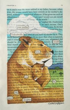 Lioness and her Cub - Blackout Poetry, Art, Artwork, Book Art, Word Art, Poem, Quote, Words, Lion, Mother, Daughter, High Quality Print