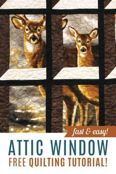 Learn how to make an Attic Window Quilt featuring panels and large scale fabric prints! Free Quilting Tutorial!