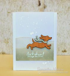 Sam's Scrap Candy - Dachshund dog Christmas Card by Samantha Mann for Newton's Nook Designs - Holiday Hounds Dog Stamp set