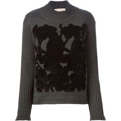 Marni embossed flower sweater (£745) ❤ liked on Polyvore featuring tops, sweaters, green, marni, green sweater, flower sweater, marni sweaters and long sleeve tops
