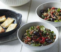 Warm Roasted Pepper Lentil Salad With Olives and Halloumi