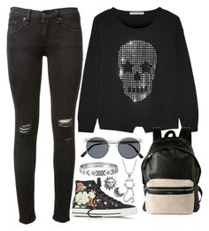 """""""Untitled #343"""" by joslynaurora ❤ liked on Polyvore featuring Autumn Cashmere, rag & bone, Yves Saint Laurent, Converse, Spitfire, House of Harlow 1960 and Stefanie Sheehan Jewelry"""