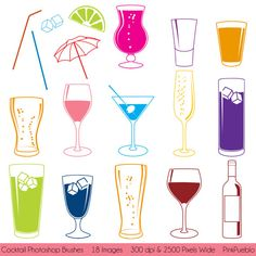 Cocktail Photoshop Brushes With Wine, Beer, Martini And Champagne- Commercial…