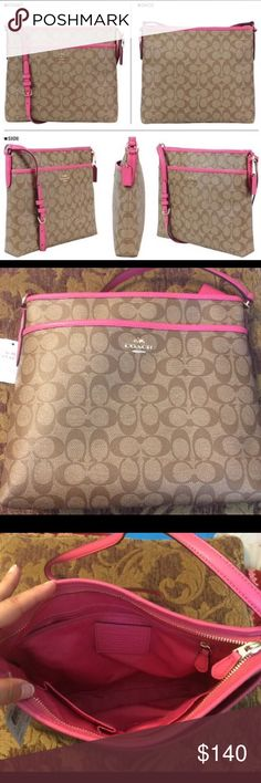 "NWT COACH F34938 Signature File Bag Coated Canvas COACH F34938 Signature File Bag Coated Canvas Khaki/Dahlia Pink NWT  Details: • Top Zip Closure with Leather Pull • Khaki Signature Coated Canvas Dahlia Leather Trim • Matching Fabric Interior • 1 Interior Zippered Pocket with Leather Pull • 2 Interior Multifunction Slip in Pockets • Approx Measures 12"" (L) x 11"" (H) x 1"" (D) • Gold Tone Hardware • Coach Hang Tag • Front Full Length Slip Pocket • 23"" Strap Drop • MSRP $225  ALL ITEMS ARE…"