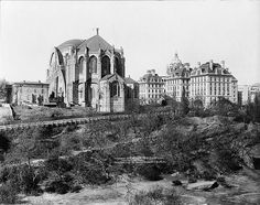 Cathedral of St. John the Divine and St. Luke's Hospital, Morningside Heights, New York City,1910.