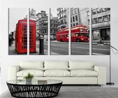 """City Wall Art - LONDON Red Bus Wall Art Print - Red Bus, England Red Phone Box Ready to Hang - Streched on Frame 1.5"""" Wall Art Print"""