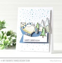 Handmade card from Vika Salmina featuring Chill Wishes and Birdie Brown Polar Bear Pals stamp sets and Die-namics, Snowfall Background stamp, and Stitched Snow Drifts Die-namics #mftstamps