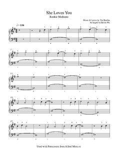 She Loves You by The Beatles Piano Sheet Music | Rookie Level
