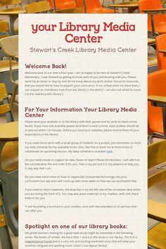 My Library Media Center Newsletter for September - template for ideas