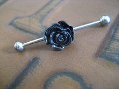 Black Rose Industrial Barbell Piercing- Scaffold Bar Surgical Steel Ear Earring Jewelry