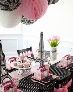 paris+themed+centerpieces | Paper honeycomb lanterns in pink, white , and black-and-white damask ...