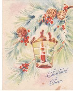 Vintage Christmas Card Lantern Cellophane Trim Red Candle Pinecones 1950'S | eBay