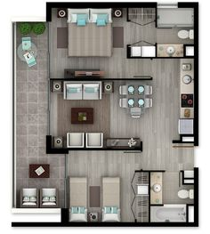 Dream House Plans, Modern House Plans, Small House Plans, House Floor Plans, Apartment Layout, Apartment Design, Hotel Room Design, Apartment Floor Plans, Sims House