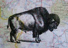 Buffalo print on Montana map